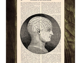 Summer Sale Upcycled Dictionary Page Upcycled Book Art Upcycled Art Print Book Print Vintage Art Print Brain Phrenology study SKA045