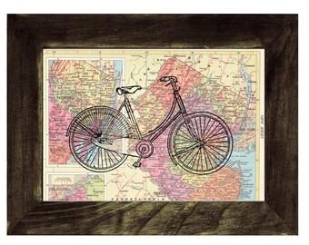 Map bike Book Print Dictionary or Encyclopedia Page Print map print bike  Print on Vintage Book art BPTV04