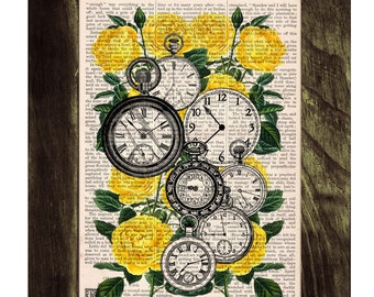Summer Sale Book print Watch collage dictionary book Clocks over Roses -Time to see you-book print on Vintage  art BFL112