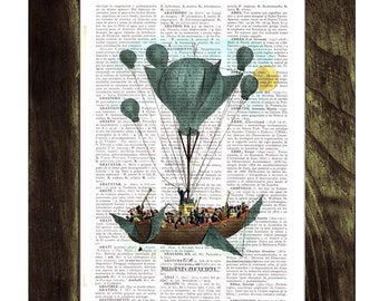 Hot air Balloon Print on Vintage Encyclopedic Dictionary  Book TVH116