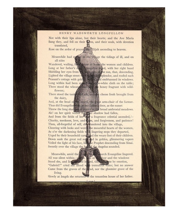 Spring Sale Upcycled Dictionary Old Dress Form Upcycled Book Art Upcycled Art Print Upcycled Book Dictionary page book art print BPTV108