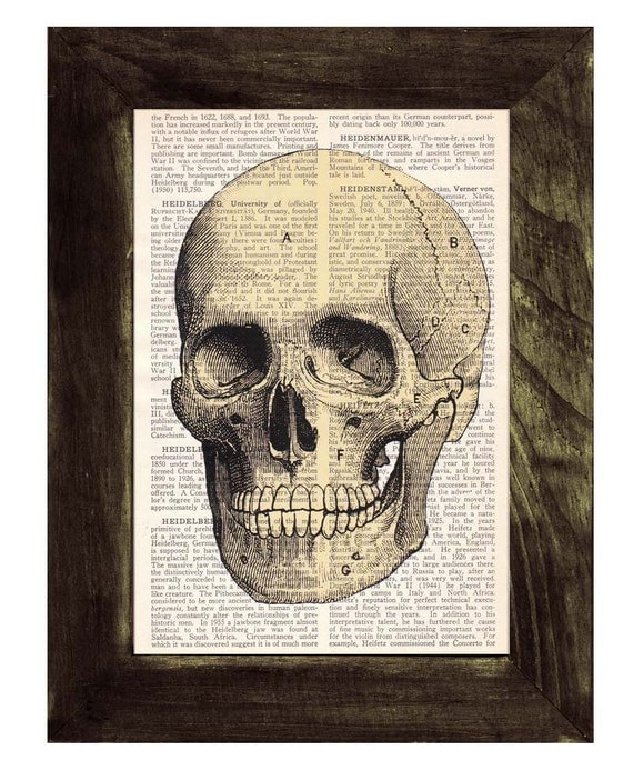 Christmas Sale Gift for doctors- human skull printed on a sheet from antique dictionary - Doctors office art- Human skull  SKA005