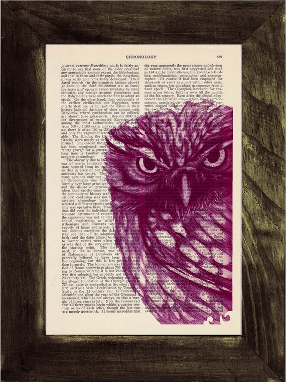 Winter Sale Owl Dictionary page book art print Magenta Owl Print on Vintage Book dictionary page illustration book print BPAN026
