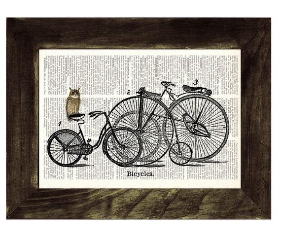Owl Upcycled Dictionary Page Art Print Upcycled Book Print Vintage Owl choosing bike Print on Vintage Dictionary BPAN031