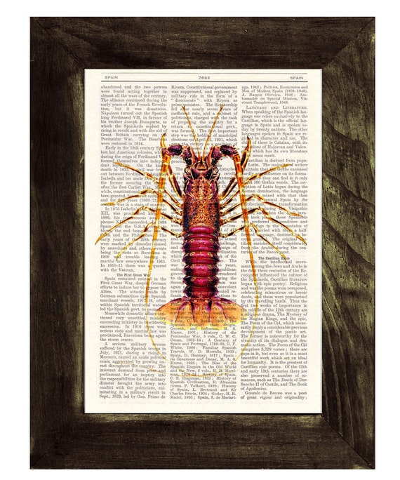 Spring Sale Book Print Dictionary or Encyclopedia Page Print- Book print Lobster Print on Vintage Book Perfect giftart art BPSL051