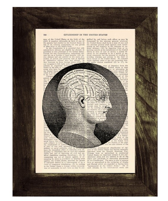 Upcycled Dictionary Page Upcycled Book Art Upcycled Art Print Book Print Vintage Art Print Brain Phrenology study SKA045
