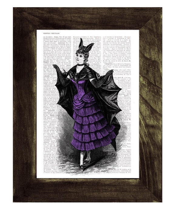 Victorian Violet Bat costume - Vampire girl- Print on Vintage Book Upcycled Dictionary Page Upcycled Book Art BPTV124