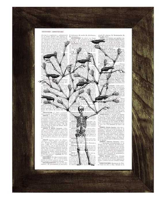 Christmas Sale Skeleton Tree and crows Print on Vintage Book- Altered art- Recycled dictionary page print SKA072