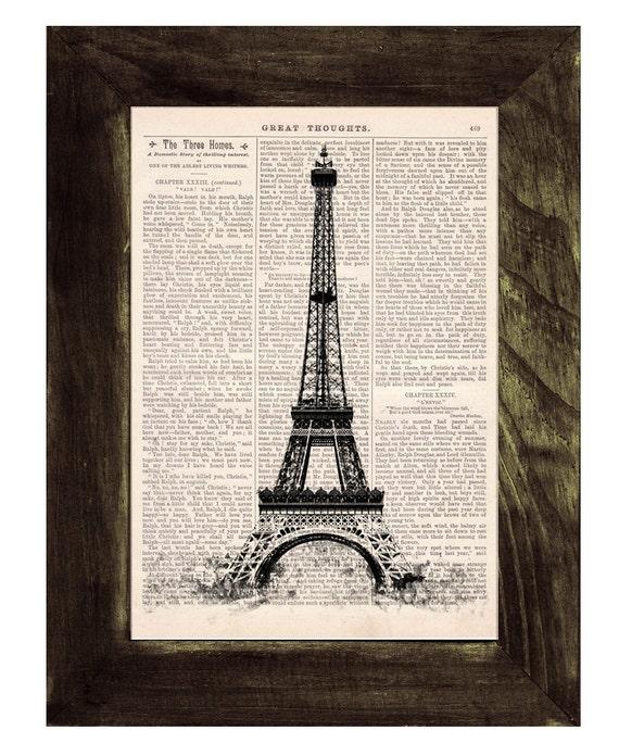 Spring Sale Vintage Book Print -  Eiffel Tower  Print on Vintage Book art BPTV034