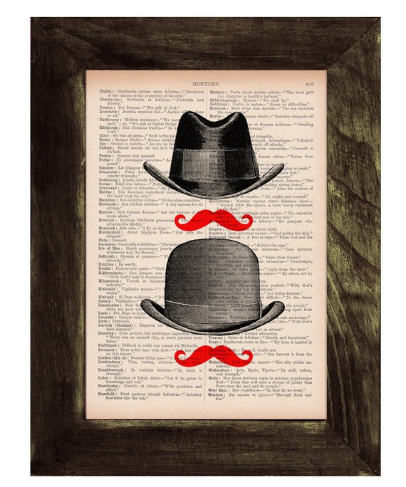 Spring Sale Upcycled book Hat & Moustache II Art Print Upcycled Book Print BPTV109
