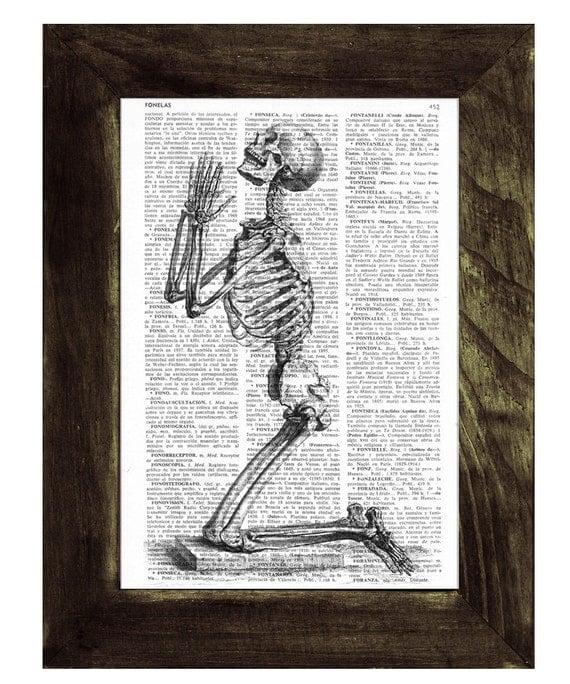 Christmas Sale Praying Skeleton - Dictionary Book Page Print - Anatomy Art on Upcycled Book Page SKA085