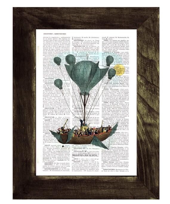 Hot air Balloon Print on Vintage Encyclopedic Dictionary  Book TVH116