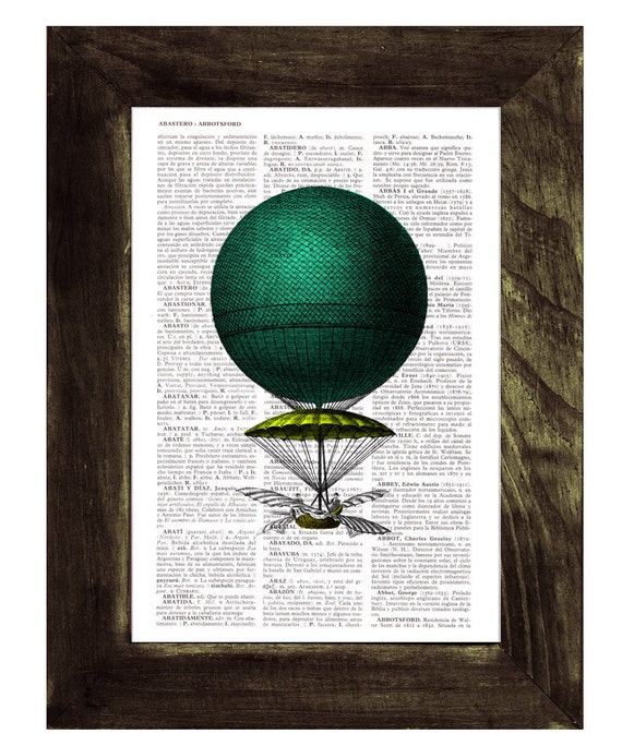 Book print Hot air Balloon Neon colors Print on Vintage Book - mixed media art BPTV126