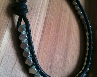 Men's Beaded Leather Wrap Bracelet