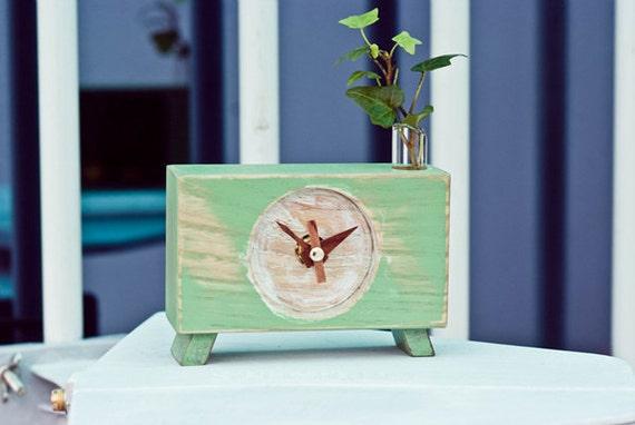 Hand made- Ash wood Clock Vintage washing Desk clock-Green day