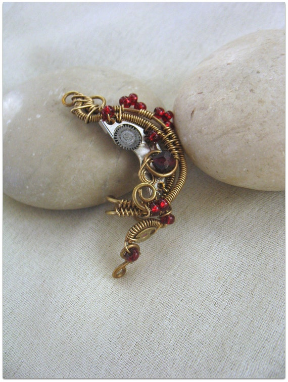 Steampunk Ear Cuff  In Antique Brass Color With Garnet