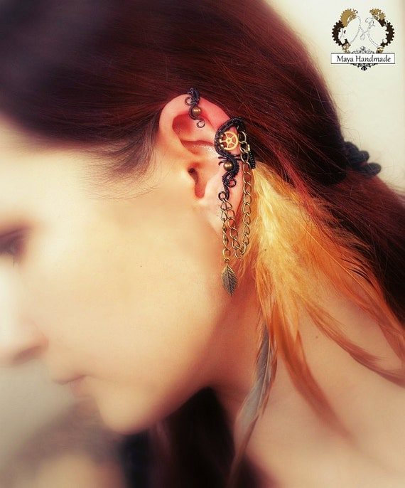 Feather Ear Cuff - Steampunk Gothic Style Black With Brass Elements