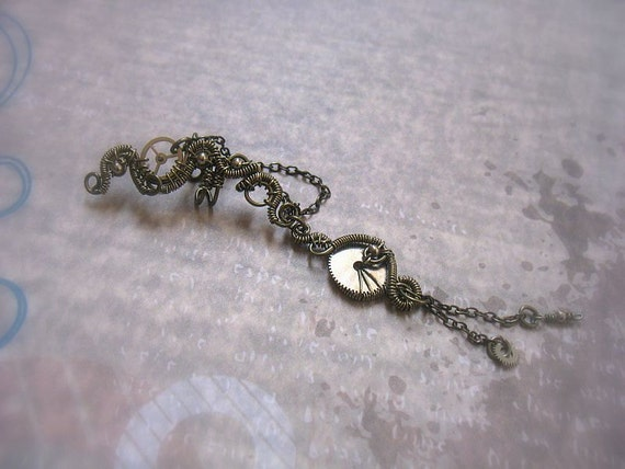 Gunmetal Steampunk Ear Cuff With Chains And Watch Parts