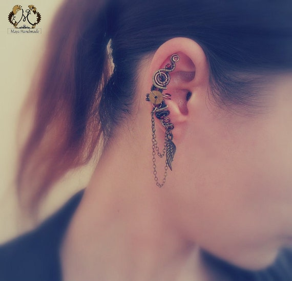 Steampunk Brass And Copper Ear Cuff With Chains