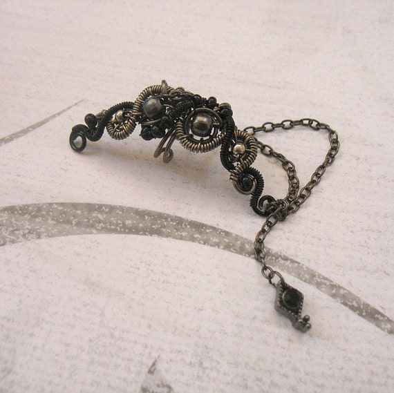 Black And Gunmetal Ear Cuff With Chains And Gothic Charm