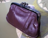 Leather purse, wine red wallet, old fashioned purse,retro purse, wine red clutch, small leather purse,romantic purse,leather wallet