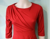 Red dress,SALE,boat neck, 3/4 sleeve, draped dress, retro 80s dress,red dress,spring dress,mad men dress,retro just like DALLAS.