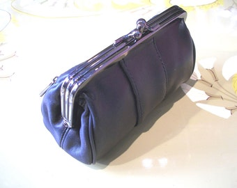 LEATHER purse,black,romantic, retro, clutch, make up bag, in BLACK