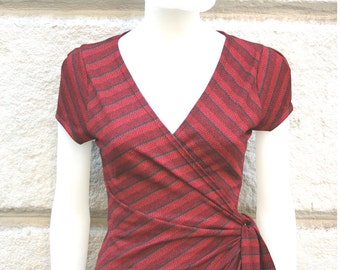 SALE Soft falling FALL wraparound dress in Cherry RED with diagonal stripes