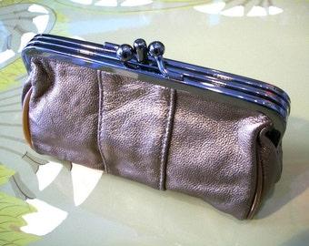 LEATHER  romantic wallet,clutch, make up bag ,purse in COPPER  Monedero, neceser romántico en piel COBRE