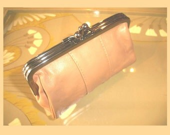 Leather purse,leather purse, make up bag, romantic clutch, CAMEL Beige soft leather, leather wallet