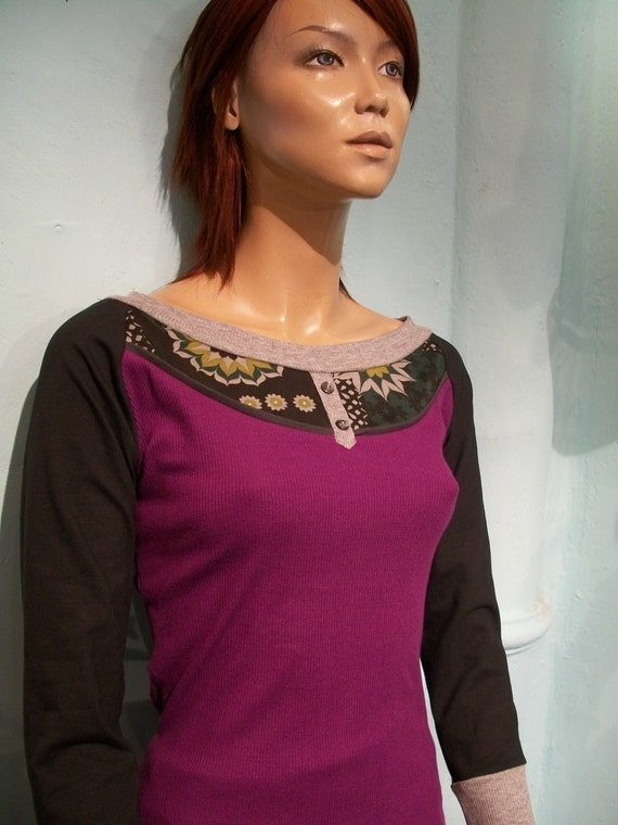 SALE,only L, MOD,Colorful,long sleeves,retro, patchwork top, MAGENTA top, with beautiful trimming details,long sleeves