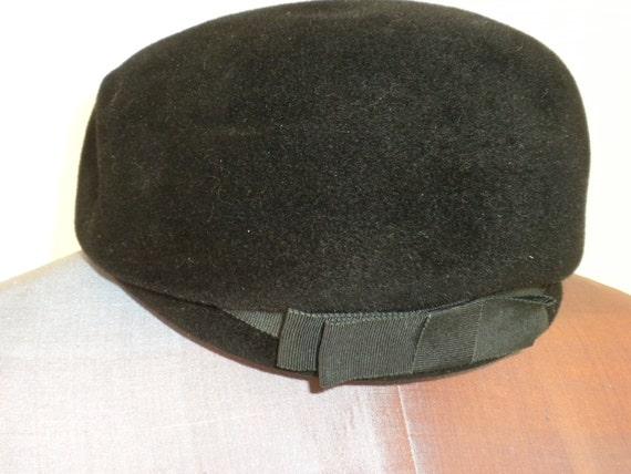 Reserved///Black Velour Hat / Bow / Jackie O' / Pillbox / MadMen / Ferncroft Pillbox Hat