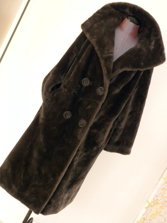 60s Coat,  Chocolate  Borgana Faux Fur, Doublebreasted Coat by Fairmoor / Luxurious