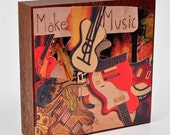 "Make Music Art Collage on Woodblock - Collage on a 5"" x 5""  Mahogany Block - Ready to Hang"