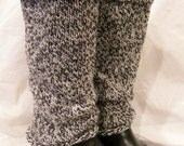 Wool Leg Warmers - Black Grey White Tweed