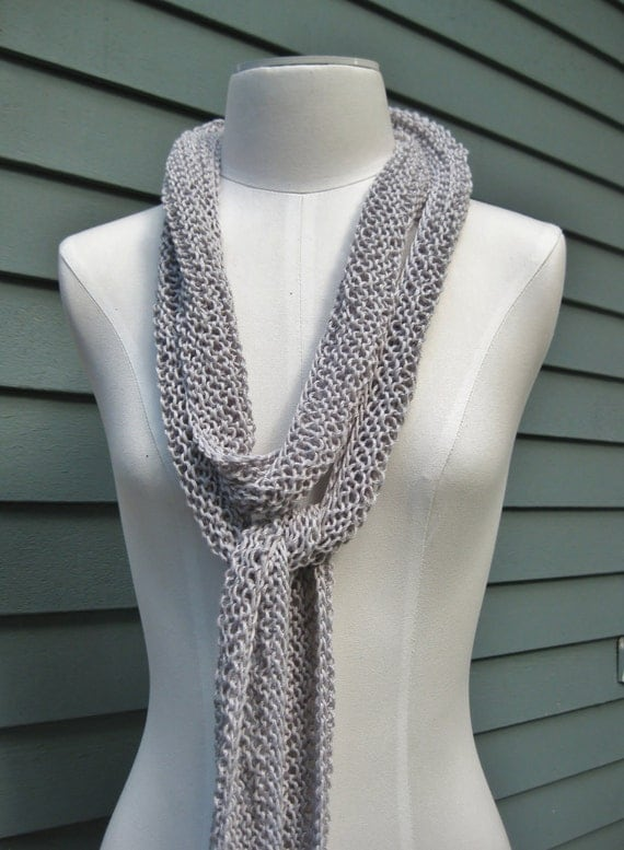 Cotton Skinny Scarf Silver Grey