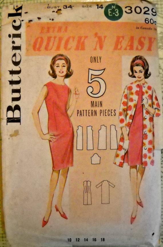 Butterick 3029, Quick 'N Easy Dress & Coat Pattern, Size 14, Vintage 1960's