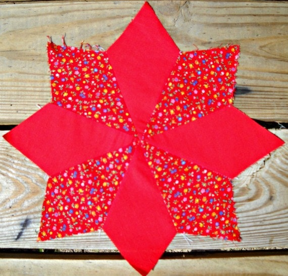Shining Star Quilt Blocks, Vintage, 1970's, Eight Pointed Star