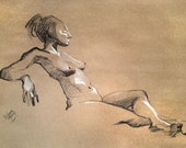 Reclined with an Attitude - Original Charcoal Pencil Drawing Sketch from Life Model  SALE