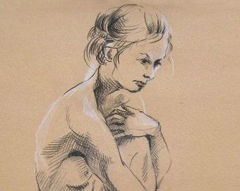 SALE Sitting Nude - Original Charcoal Pencil Life Drawing, Female Model
