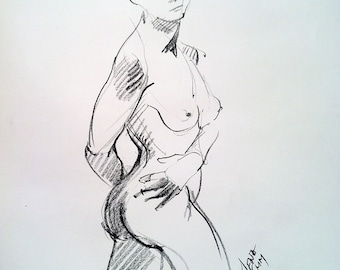 Twist - Original Charcoal Pencil Drawing Sketch from Life Model  SALE