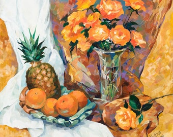 """Still Life with Pineapple 16""""x16"""" Luster Paper Giclee Print"""
