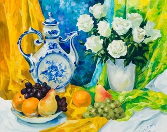 """Still Life in Blue 16""""x16"""" Luster Paper Giclee Print"""