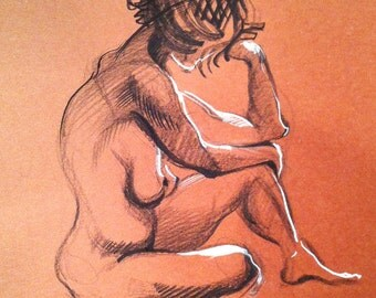Nude sitting knee up - Original Charcoal Pencil Drawing Sketch from Life Female Model