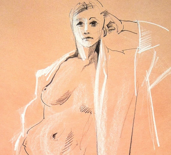 Girl with Bathrobe - Original Charcoal Pencil Drawing from Life Model  SALE