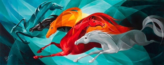 """GALLOP Giclee Print 24""""x10"""" on Luster Paper"""
