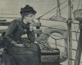 Beautiful Victorian Era Black and White Print on RICE PAPER... RARE rice paper print.. Riding the Staten Island Ferry