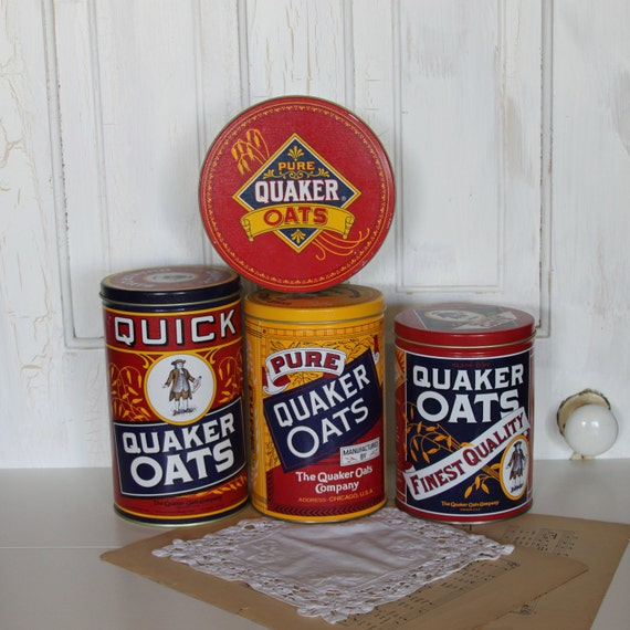 Collection of 4 Quaker Oats Tins.... kitchen canister / storage.... Farmhouse Cute....