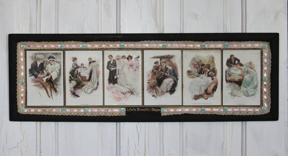 SALE... 1900c Framed Postcards LIFE'S EVENTFUL Days