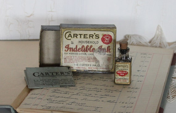 TREASURY...1930 Vintage CARTER'S Household Indelible Ink ,Box and Bottle